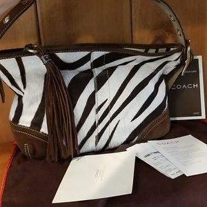 Coach Brown & White Zebra Print Suede Shoulder Bag